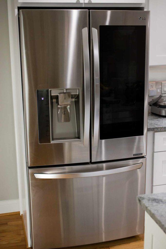 An LG fridge, in stainless steel.