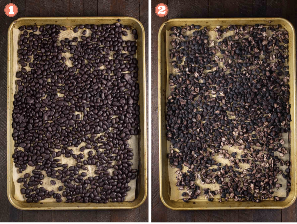 2 baking pans filled with black beans, one is before baking and one after.