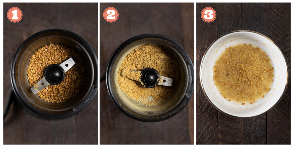 3 photos showing the process of grinding flax seeds and making a flax egg.