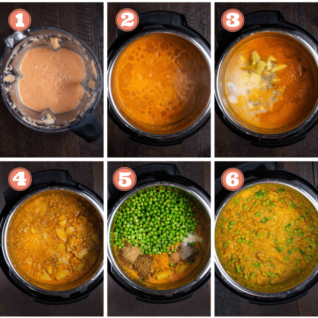 A photo showing 6 steps of cooking lentil keema in the instant pot, adding the tomatoes, potatoes, lentils and peas- and lastly, showing the final dish.