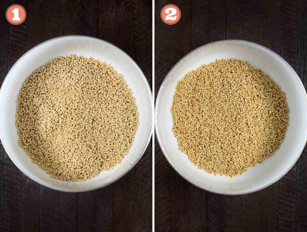 Before and after photos of Israeli couscous being browned in a pot.