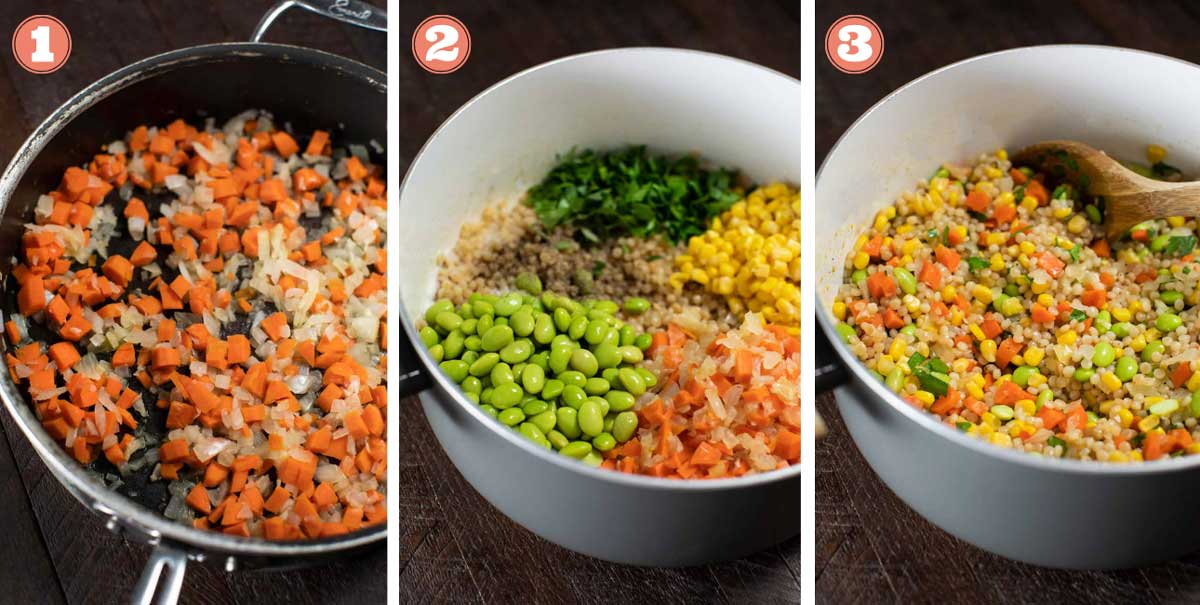 Sequence of 3 images showing the process of combining couscous with vegetables.