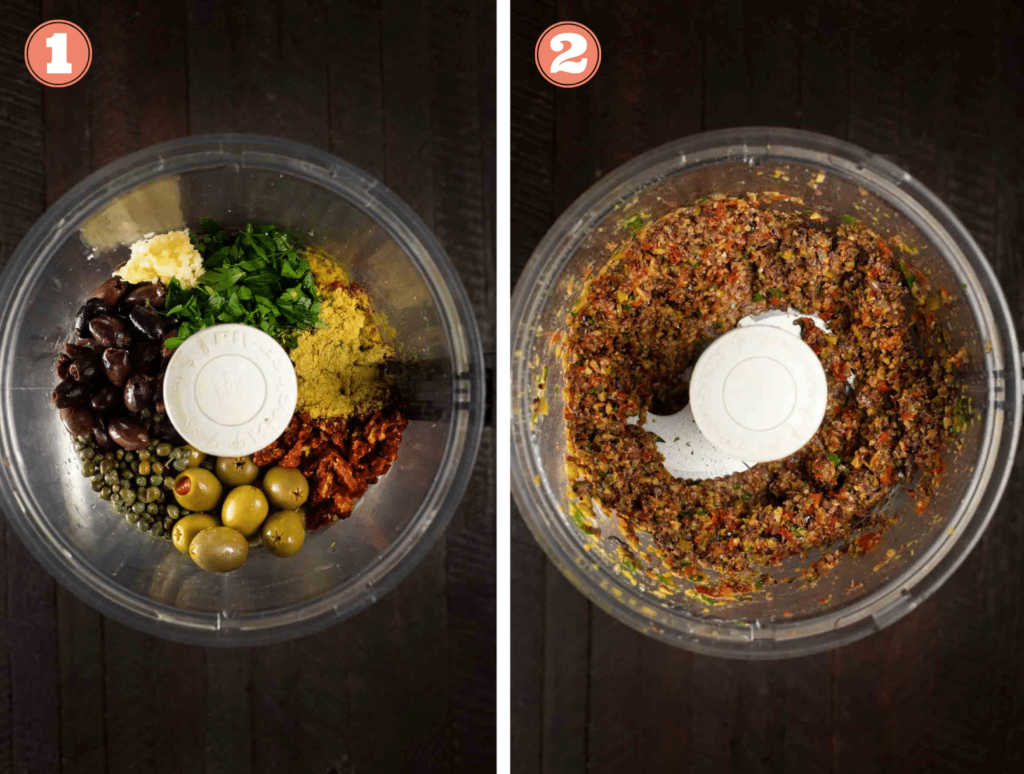 A blender, showing before and after of making olive tapenade.