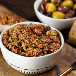 A bowl of olive tapenade