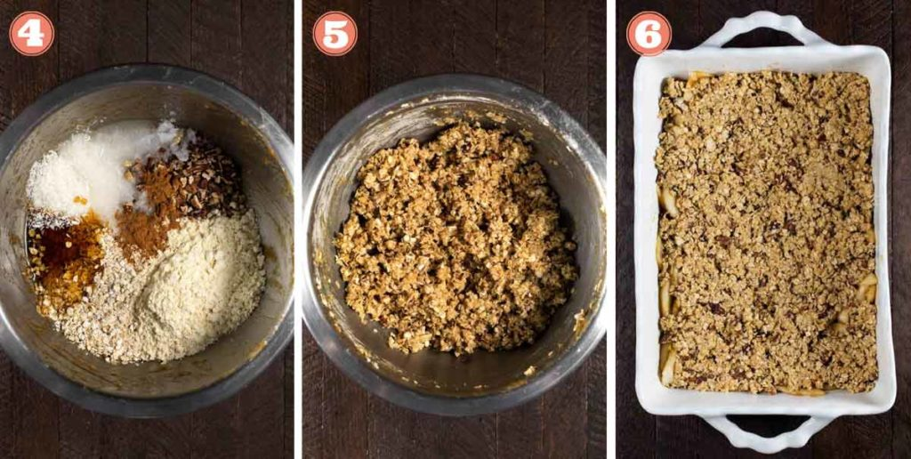 3 photos showing steps of making pear crisp, and preparing the topping.