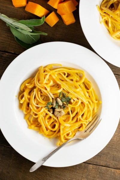 a plate of pasta with Roasted butternut sauce