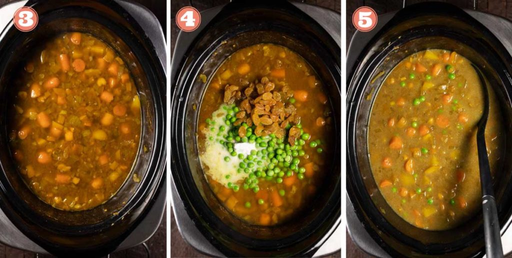 3 images showing adding ingredients to a Thai yellow curry in a slow cooker.