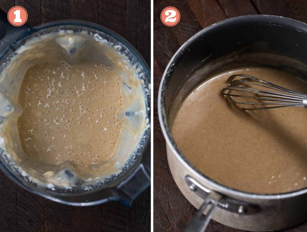One photo of vegan caramel in a blender and another of the caramel in a saucepan.