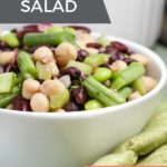 5 Bean Salad in a white bowl