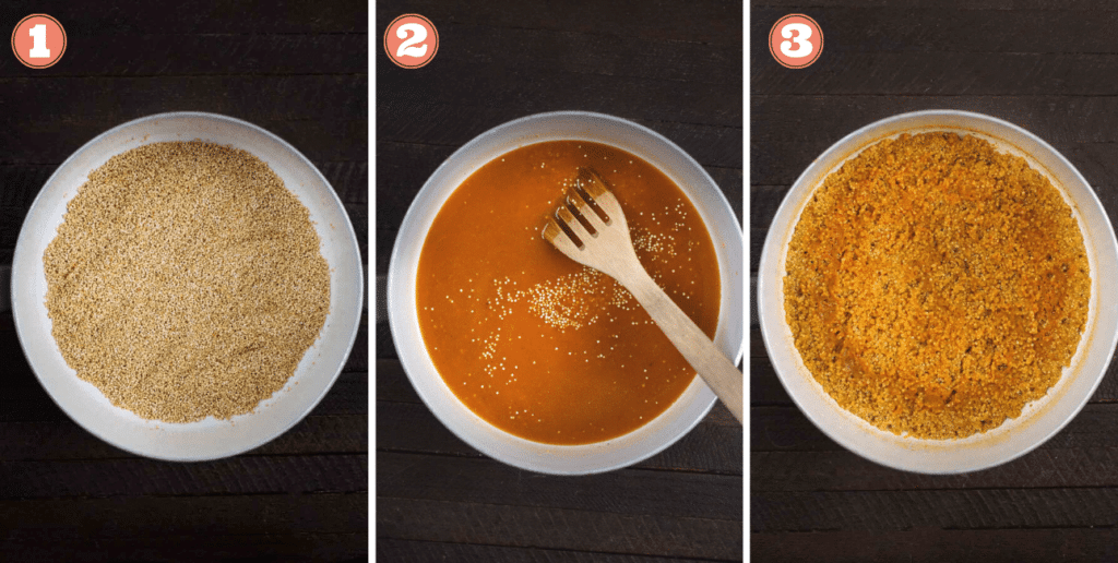 A series of 3 shots of quinoa being browned in a Dutch oven pot.