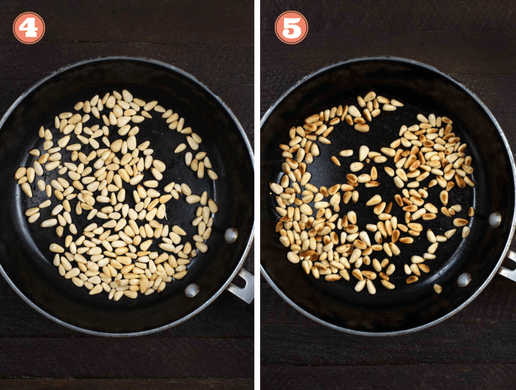 A series of 2 photos of raw pine nuts being browned, before and after.