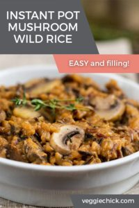 Mushroom Wild Rice made in an Instant Pot, in a white bowl