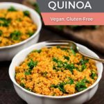 Simple Kale Quinoa in a bowl with a fork.