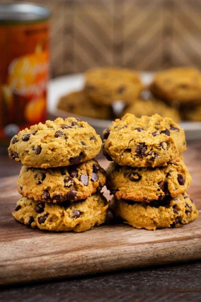Pumpkin Chocolate Chip Cookies stacked up.