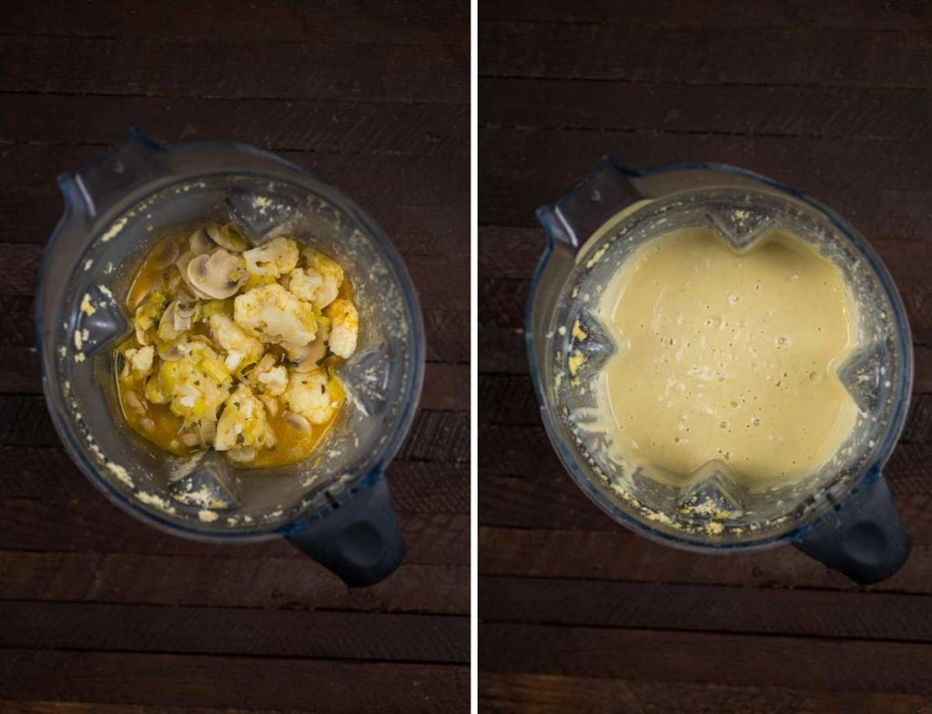 2 photos showing before and after, adding the cauliflower and veggies and showing the final soup.
