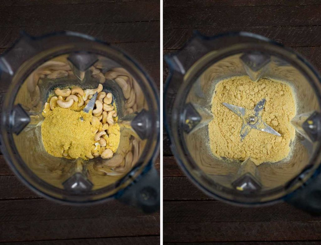 2 photos showing raw cashews and nutritional yeast in a blender, before and after blending.