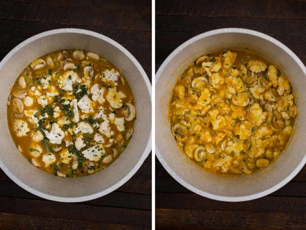 2 photos showing uncooked cauliflower in a pot, and cooked.