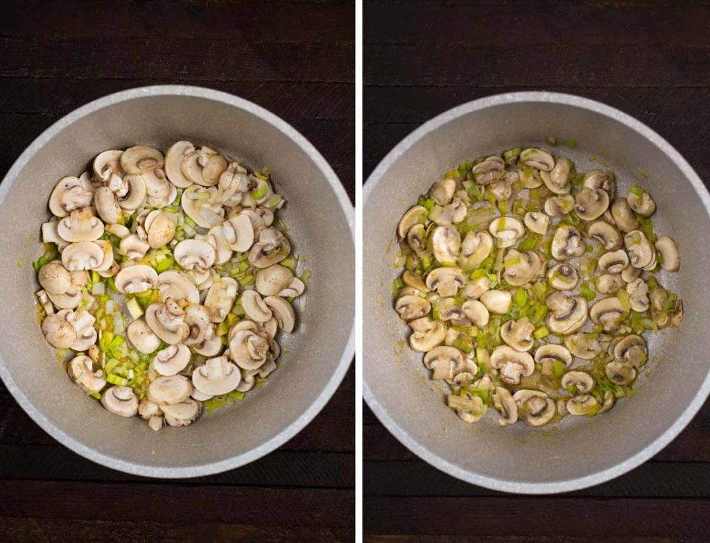 2 photos showing uncooked mushrooms and leeks in a pot, and cooked veggies.