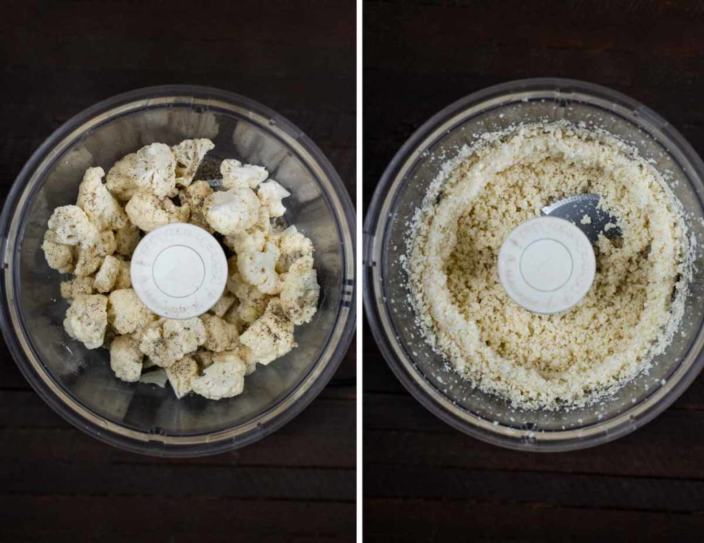 2 photos showing cauliflower florets being turned into rice using a food processor.