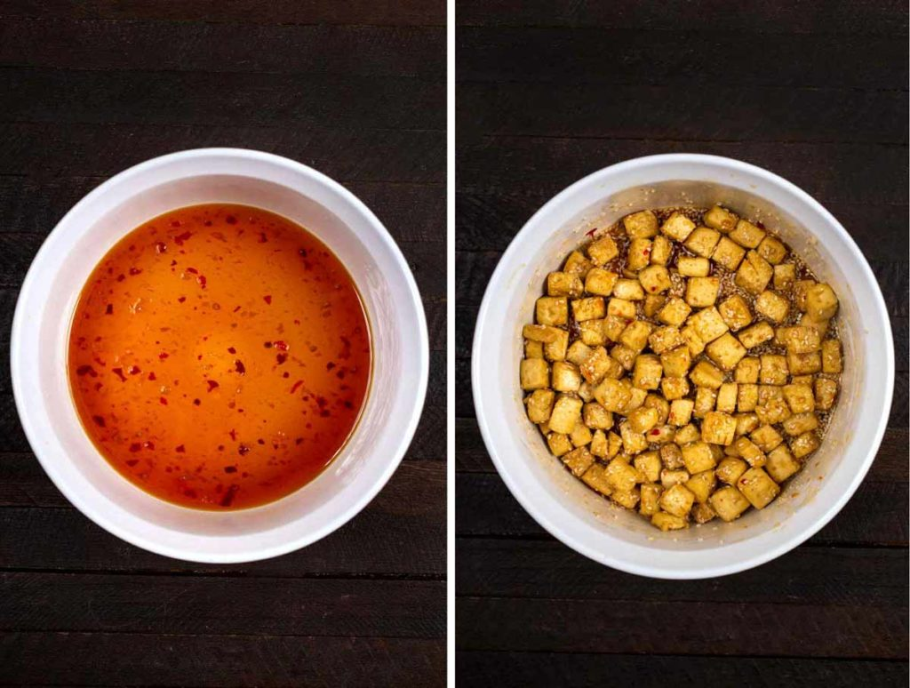 2 photos showing a bowl of Asian sauce and a bowl of baked tofu mixed with the sauce.