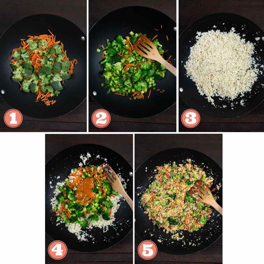 5 photos showing the sequence of making Cauliflower Rice Stir Fry in a wok.