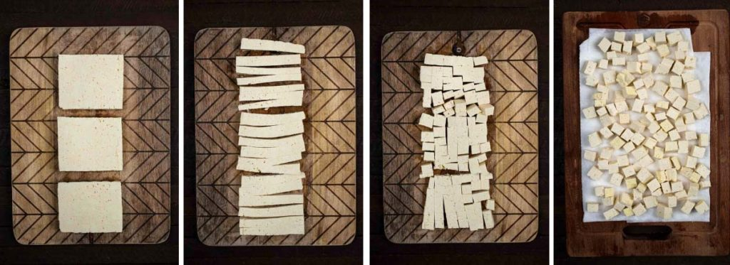 A series of 4 photos showing the process of getting moisture out of tofu.