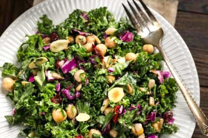 Kale Salad with cranberries on a white plate