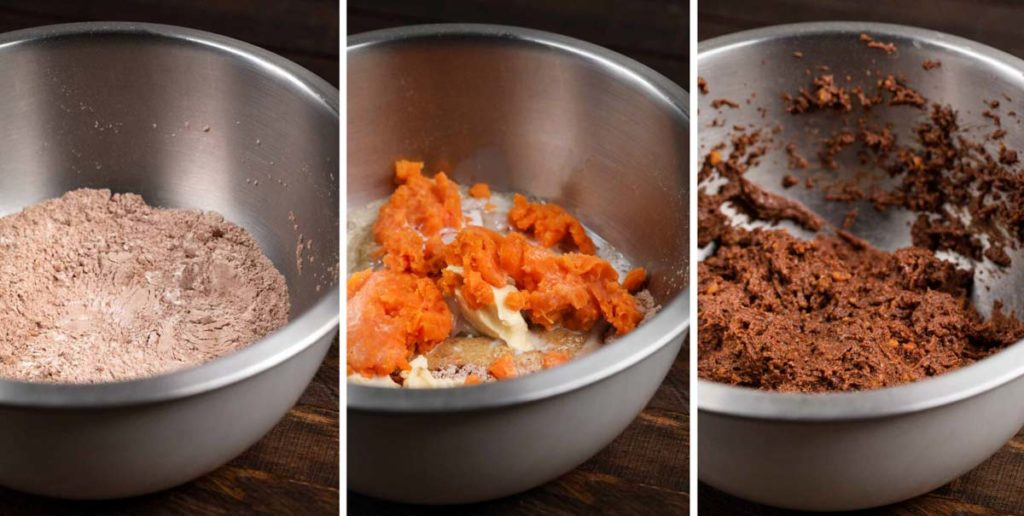 3 images of the batter for sweet potato brownies being made.