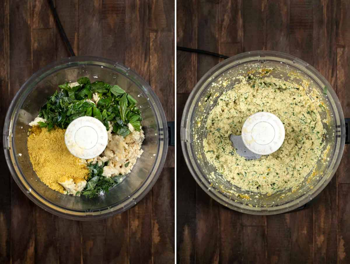2 photos showing the before and after of making tofu ricotta in a food processor.