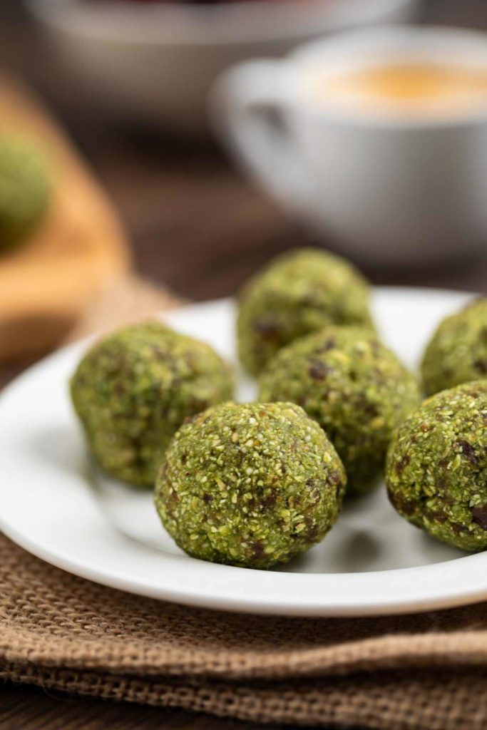 5 Ingredient Green Tea Energy Balls on a white plate