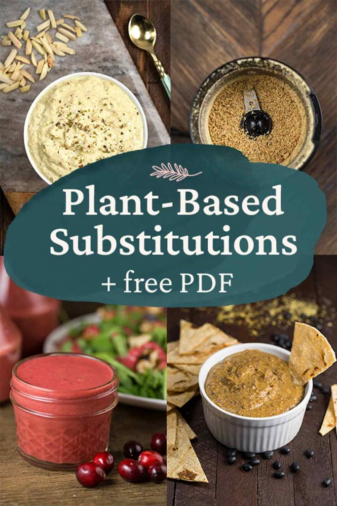 Plant Based Substitutions + free PDF with 4 photos of dishes.
