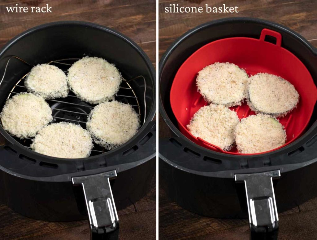 2 photos showing crispy eggplant cutlets in an air fryer basket, one with a grid and one with a silicone basket.