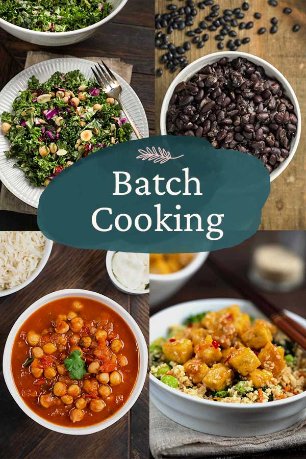 Batch Cooking with 4 photos of dishes.