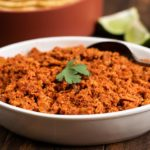 Homemade Soy Chorizo Recipe in a white bowl with cilantro garnish