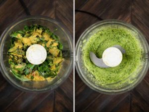 2 images showing the ingredients for avocado pasta sauce blended in a food processor.