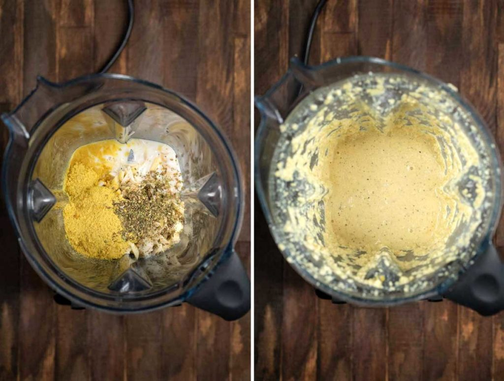 2 photos showing the ingredients for almond ricotta added to a blender, and blended until smooth.