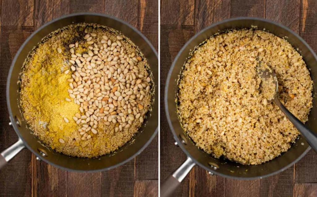 2 photos showing quinoa with pine nuts and nutritional yeast, and mixed in together.