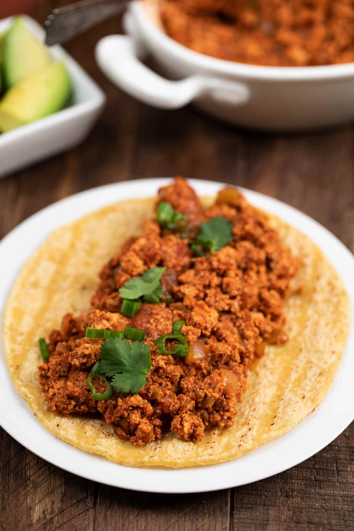 A vegan soy chorizo taco filled with soy chorizo filling, green onions and cilantro.