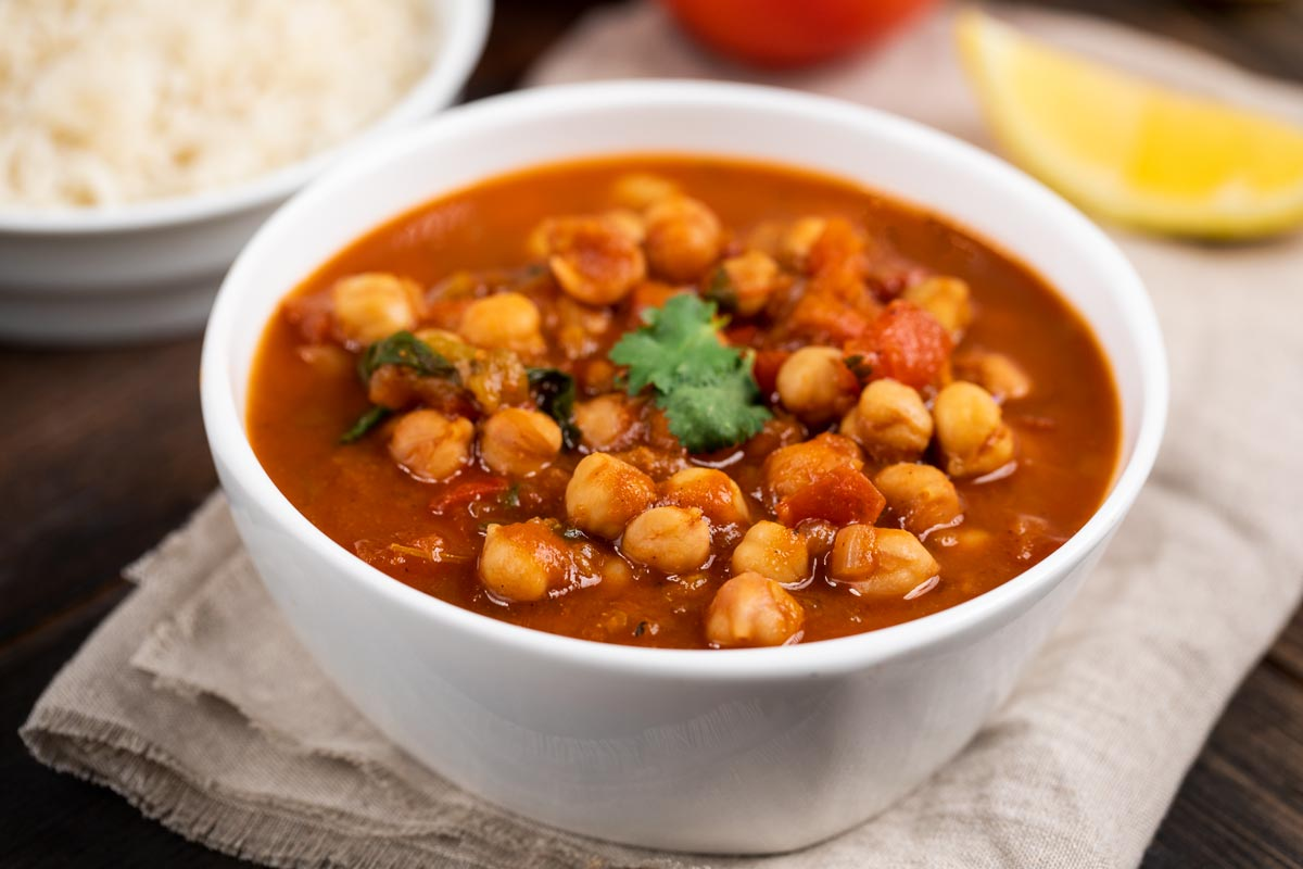 A bowl of Chana Masala made in the Instant Pot.