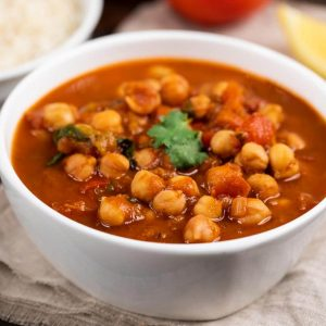 Instant Pot Chana Masala in a white bowl