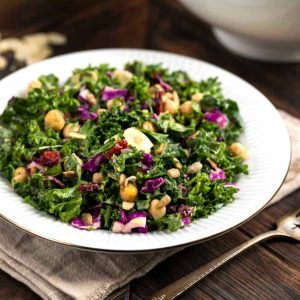 Kale Cranberry Salad on a white plate
