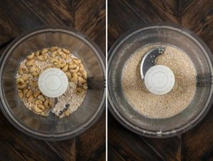 Raw cashews and oats blended together in a food processor.