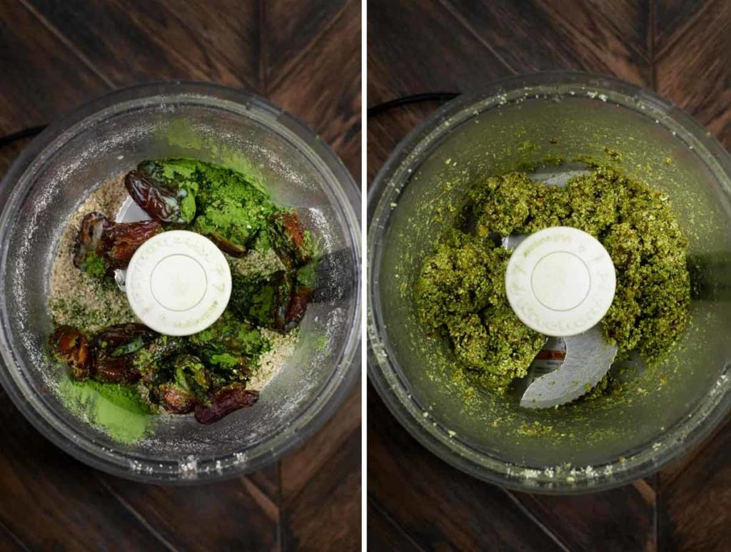 2 photos showing a food processor with dates, matcha green tea powder, and almond milk on top of oats and cashews, and another photo blended up.