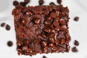 Sweet potato brownie on a plate, close up