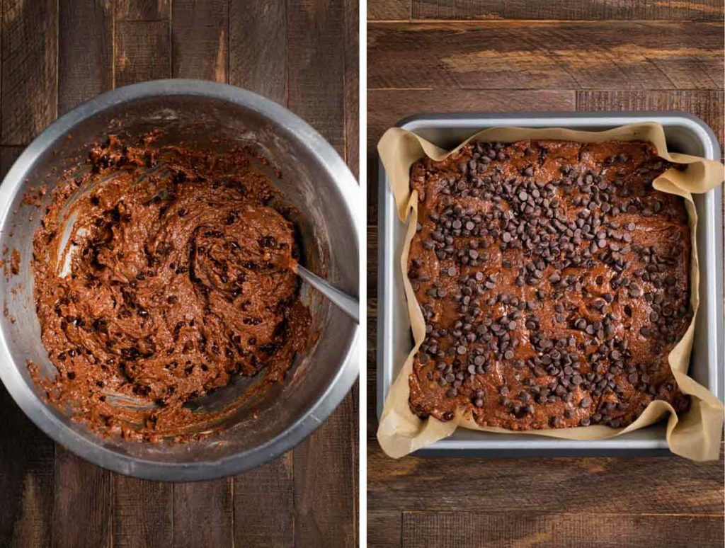 2 images showing the before shot of sweet potato brownie batter and the after shot of the mix in a pan topped with chocolate chips.