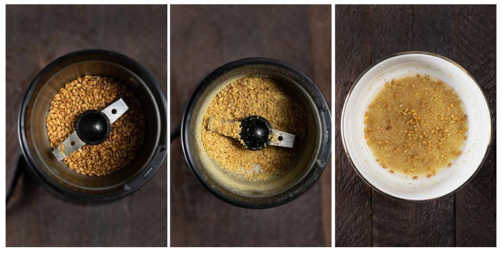 3 photos showing flax seeds ground in a coffee grinder.