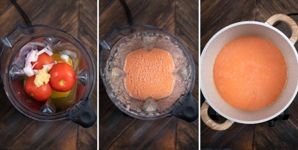 3 photos showing tomatoes and shallots being blended in a blender.