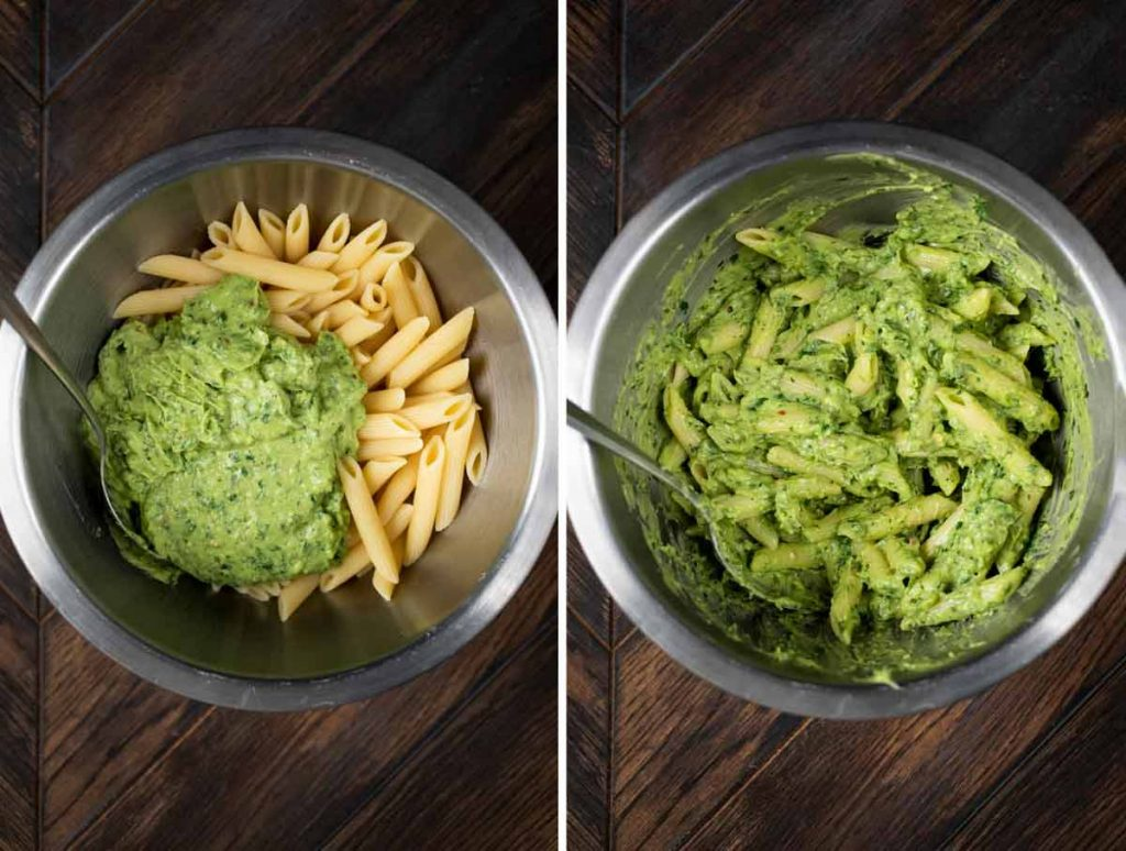 2 photos showing before and after of combining avocado pasta sauce with penne pasta.
