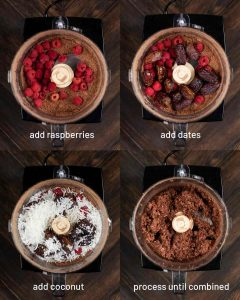 4 shots showing the process of adding raspberries , dates, and coconut flakes to a food processor.