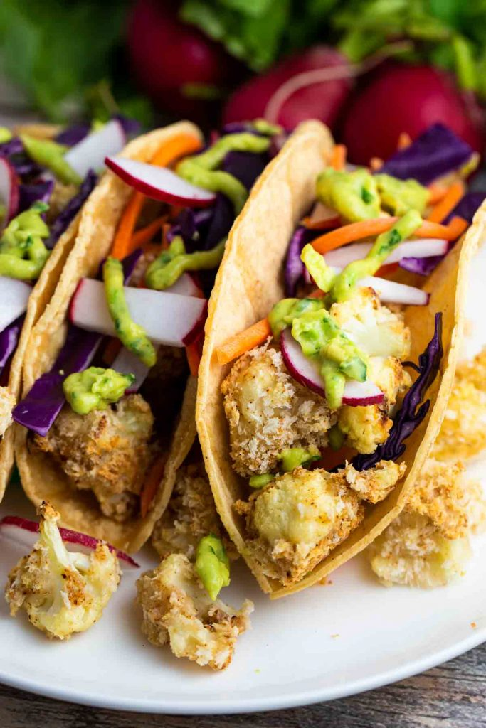 Cauliflower Tacos on a white plate